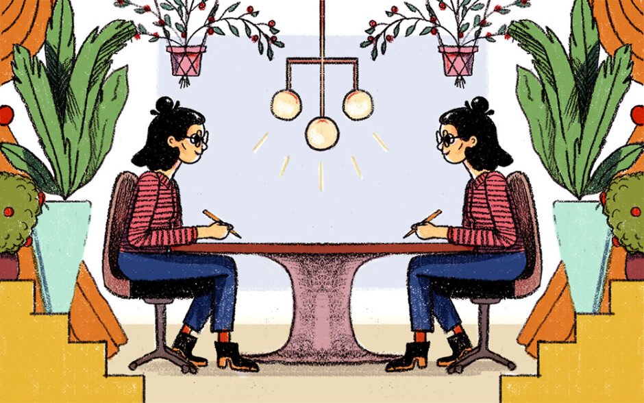 Illustration of a woman conducting a meeting with herself