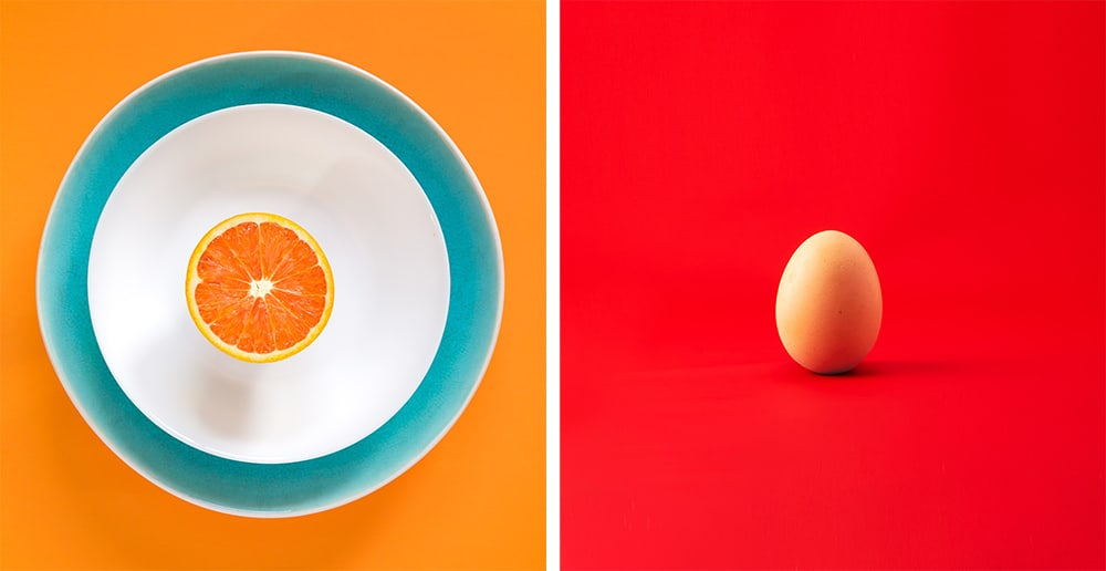 Split images: orange on a plate on the left and an egg on the right