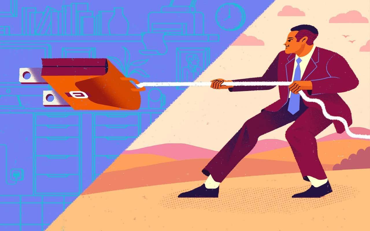 Illustration of man pulling the plug on work