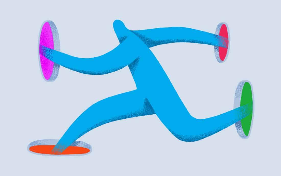 Illustration of a character running through portals