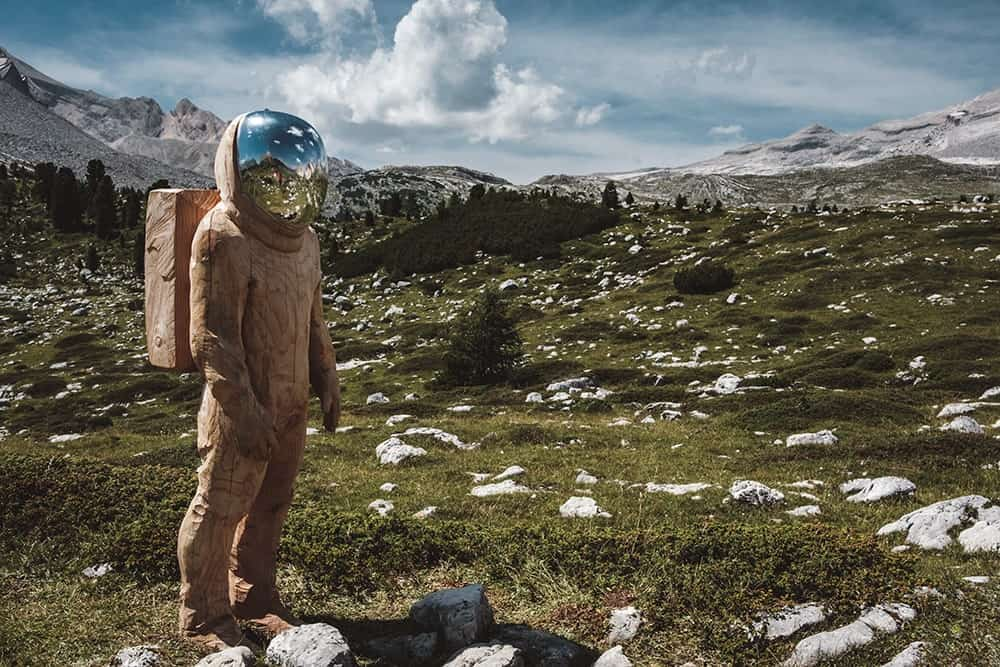 Man in space suit in the fields