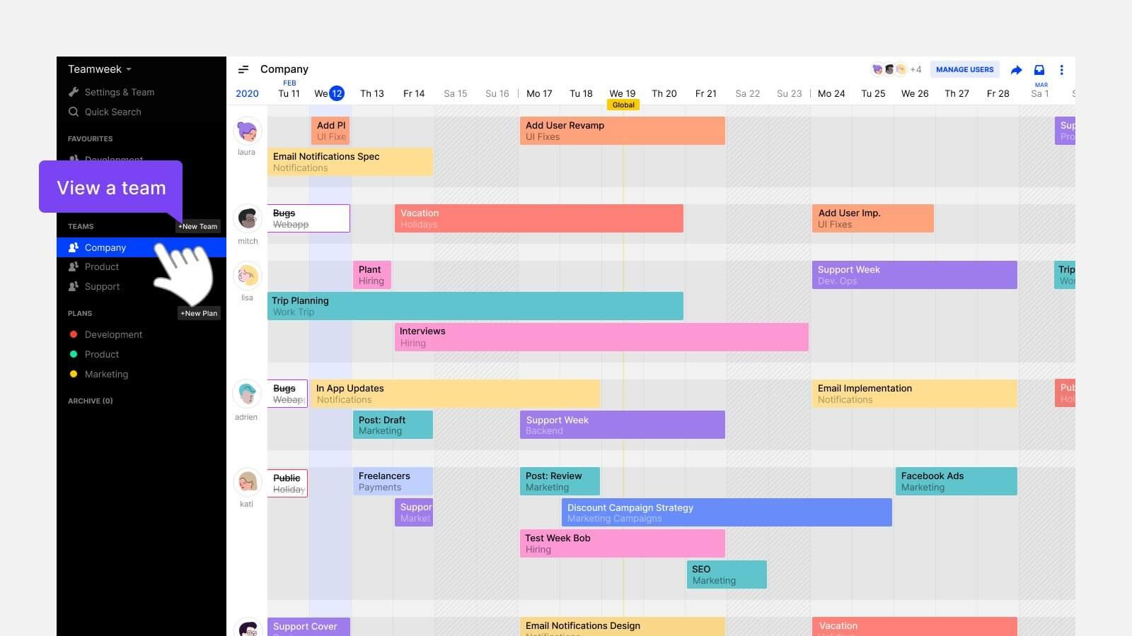 setting up quarterly plans in Teamweek