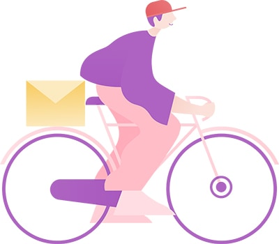 man riding a bike with a email on the back hoping that his efforts will help him land remote clients