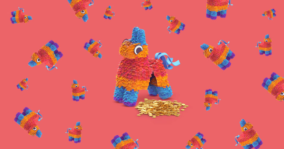 Broken pinata with gold coins