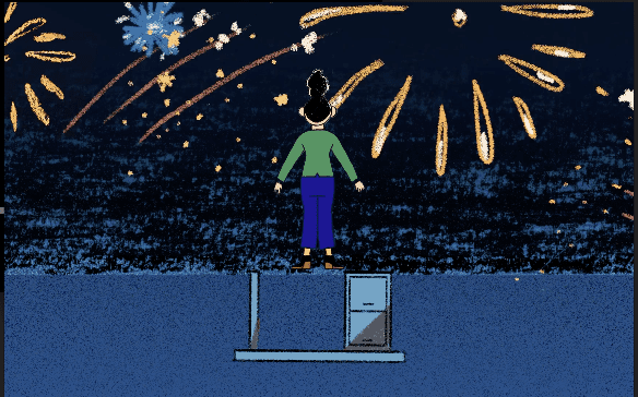 a woman who's standing on top of her desk celebrating a new career shift by watching fireworks