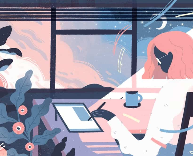 A pink haired woman looking at a tablet with plants surrounding her as the sun turns to pink and blue hues. The presence of the sunset and the moon in the background may lead someone to question if she's been working for many hours, thus raising the question: How many hours in a week should one work?