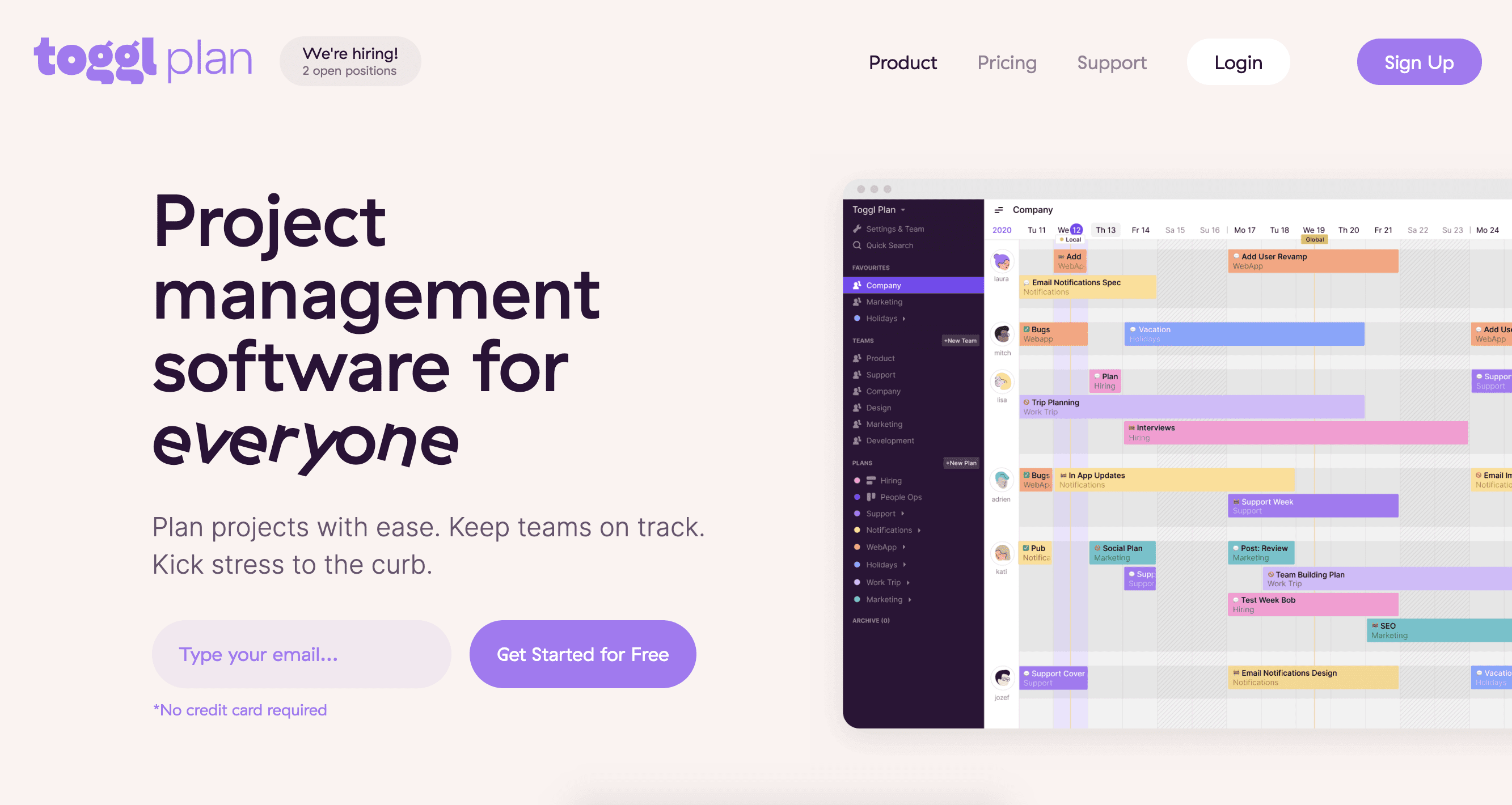 Toggl Plan Product Page