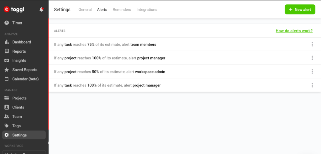 Set project alerts in the Toggl Workspace