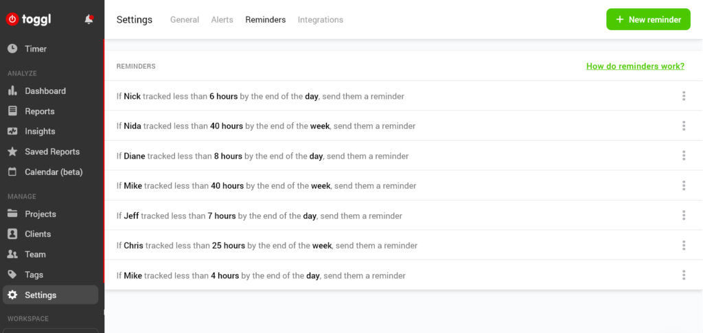 Time tracking reminders in Toggl Workspace
