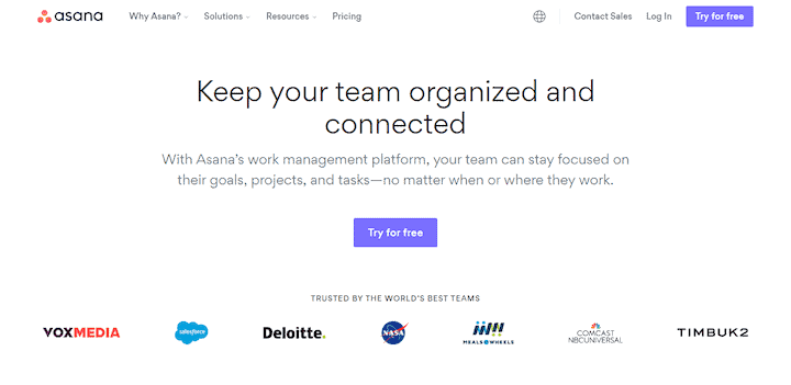 Asana - sophisticated project management for large teams