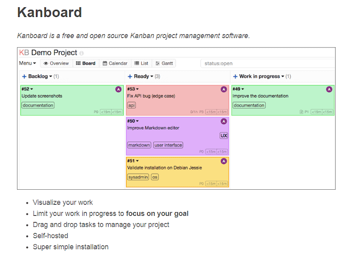 Kanboard - one of the many open source Trello alternatives