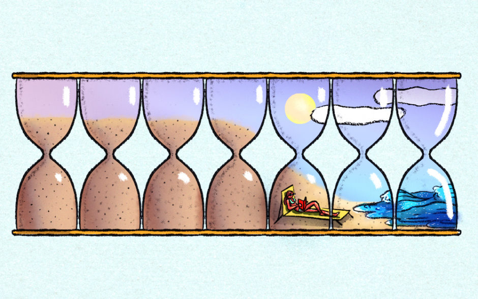 Illustration of seven sand timers lined up to form a stylized beach, with a vacationing figure relaxing on the sand; the image is a representation of time management during the seven days of the week