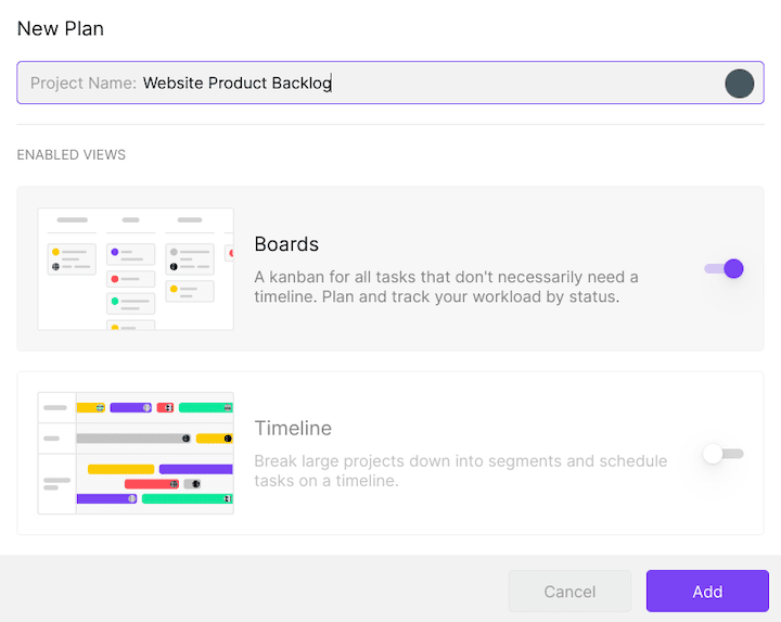 Create a product backlog board in Toggl Plan
