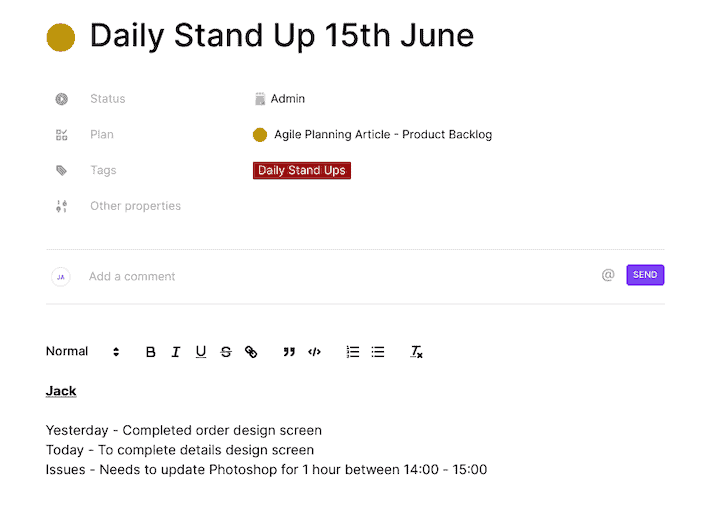 Toggl Plan Daily Standup Record