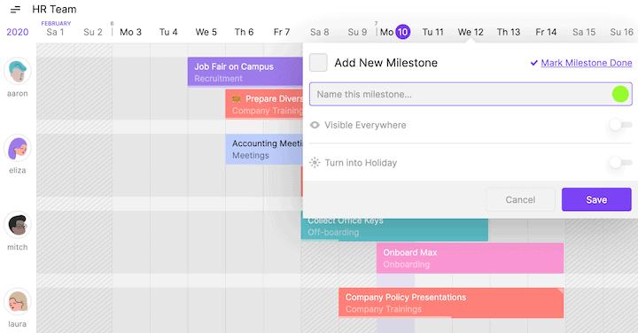 Project Milestone in Toggl Plan