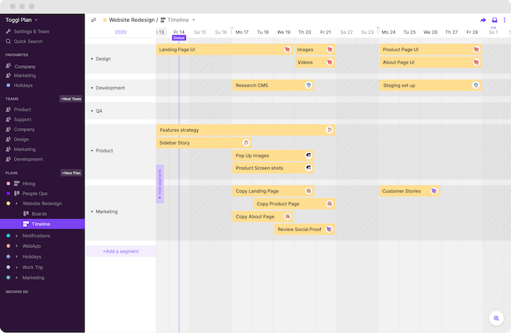 Toggl Plan's Plan Timeline is a perfect project calendar