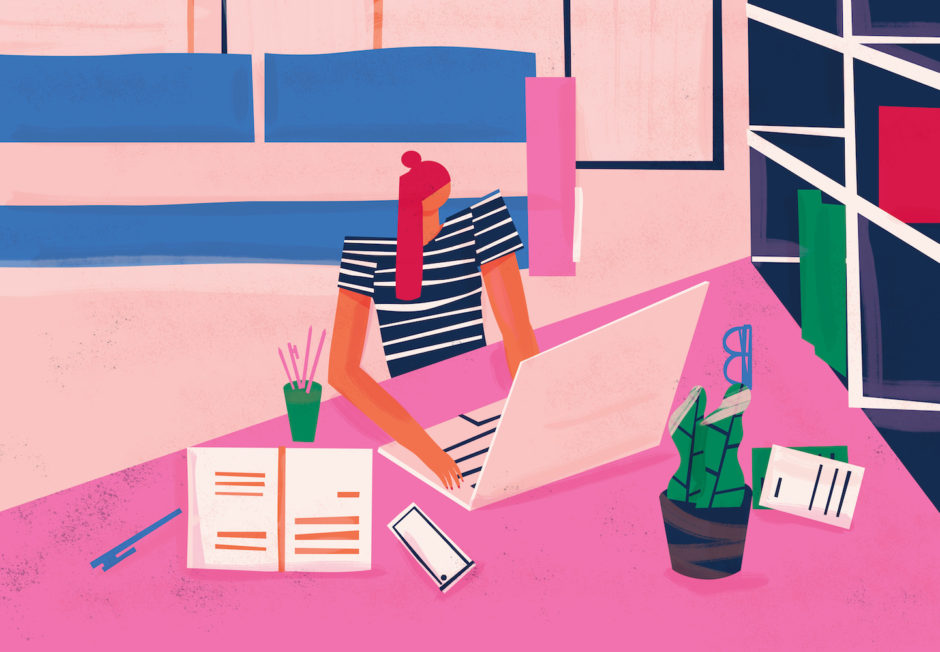 Remote worker doing telecommuting at home office environment. Work from home. Colorful conceptual illustration.