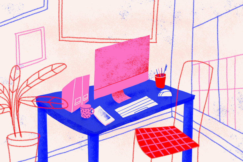 Home office as workplace. Conceptual illustration shows a house room ready for telecommuting. Working from home concept. Colorful.