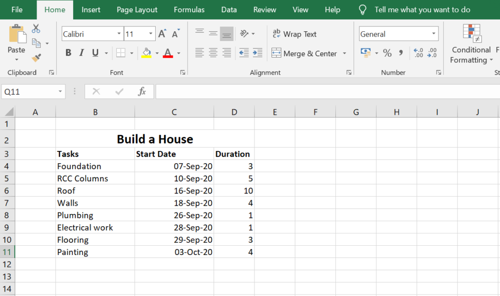 Excel Gantt Chart: Add project data
