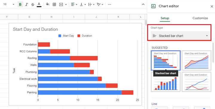 Step #2a. Change the chart type to Stacked bar chart if it already isn't.