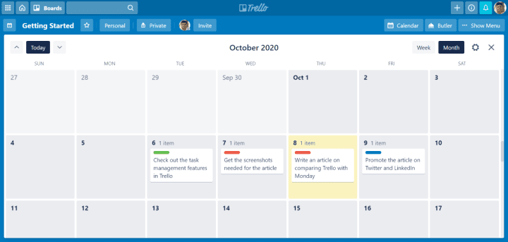 Trello Calendar View