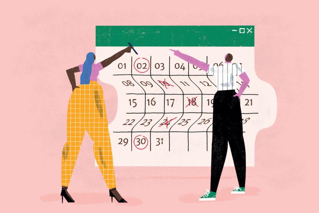 Illustration of man and woman examining a large calendar