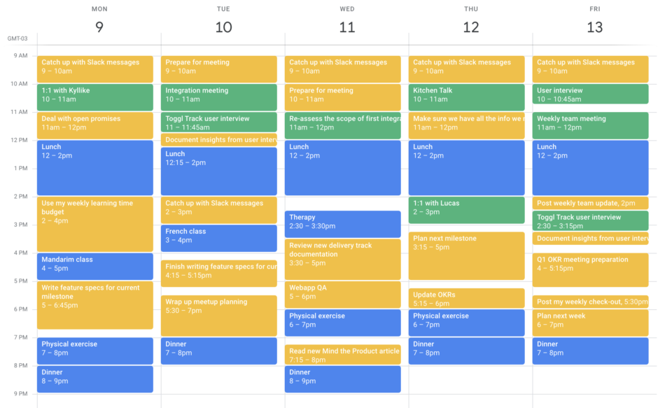 Time slots blocked out on a calendar
