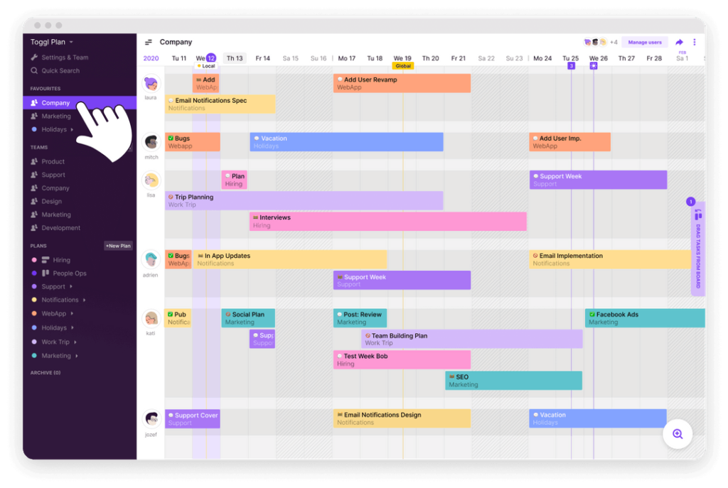Toggl Plan shows your team's projects in timeline view