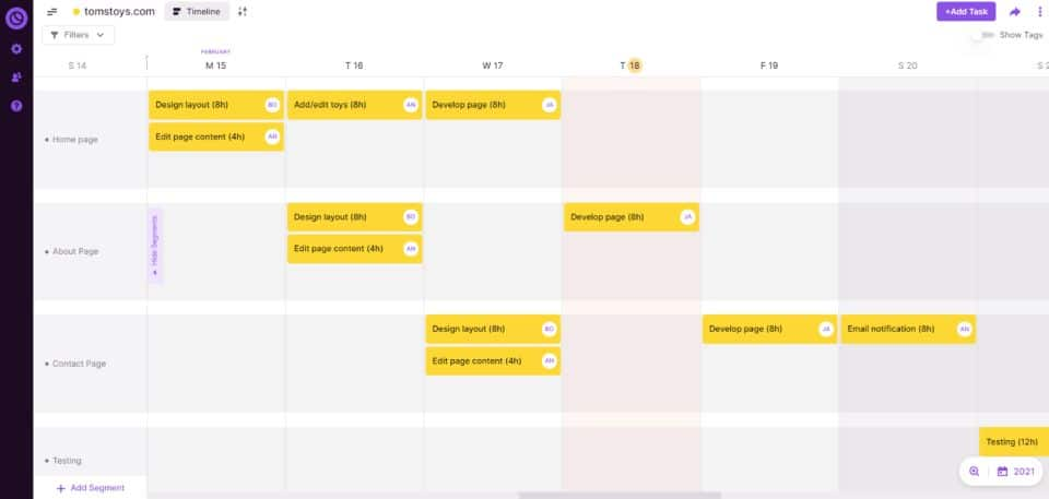 Sample project timeline for a web design project