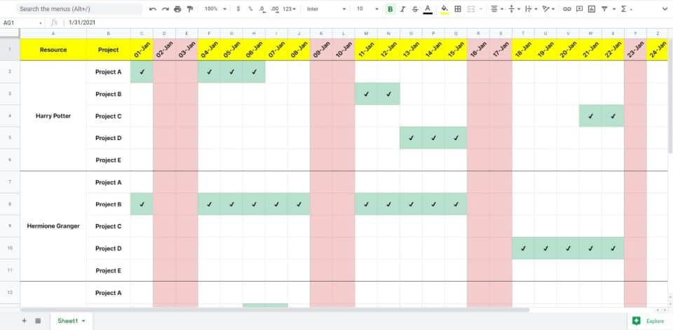 Resource Allocation Template. Use Excel For Project Management.
