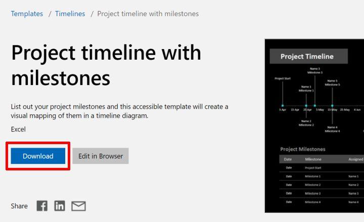 Download excel timeline template