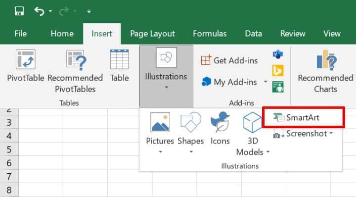 Excel SmartArt menu