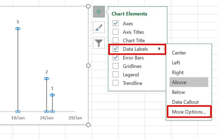 Enable scatter chart data labels