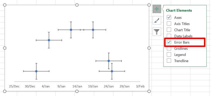 Enable scatter chart error bars