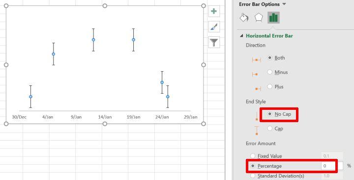 Scatter chart horizontal error bar options