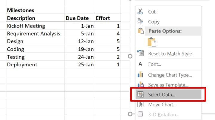 Select scatter chart data source