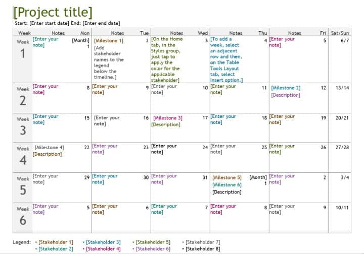 Simple Project Calendar  For MS Word