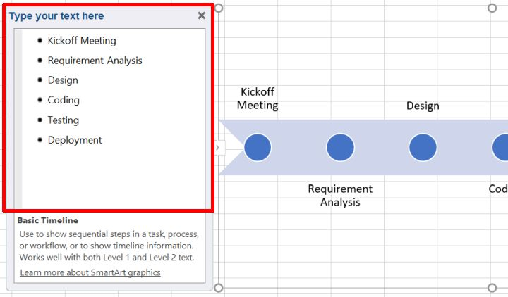 Excel SmartArt timeline data