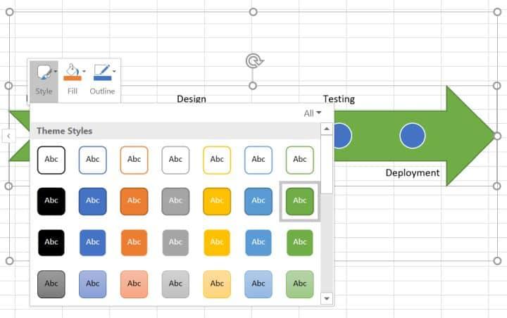 Excel SmartArt timeline options