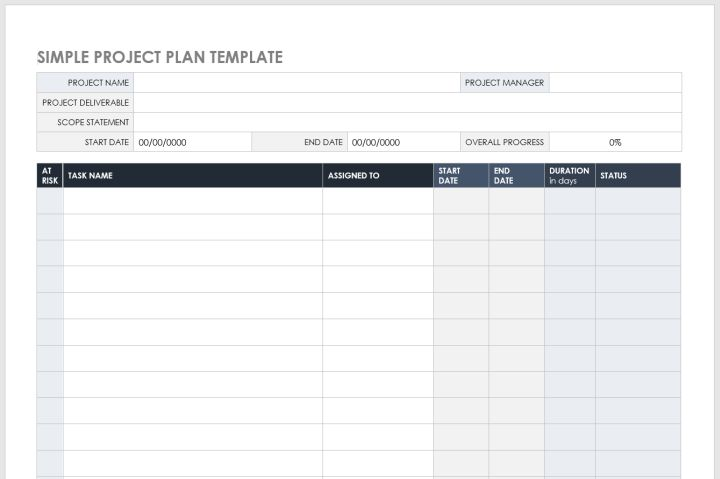 Simple Project Plan Template For MS Word