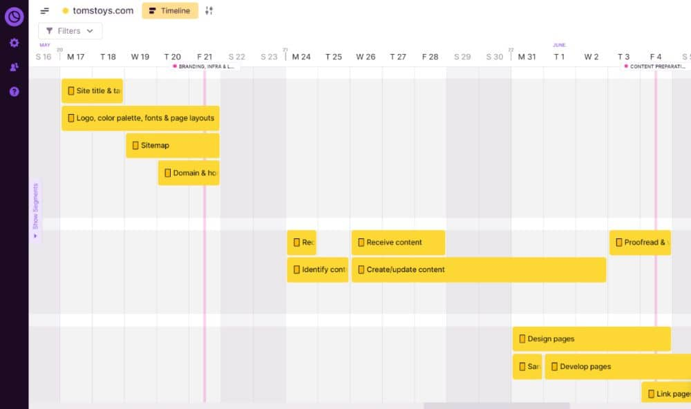 Sample Website Project Plan in Toggl Plan
