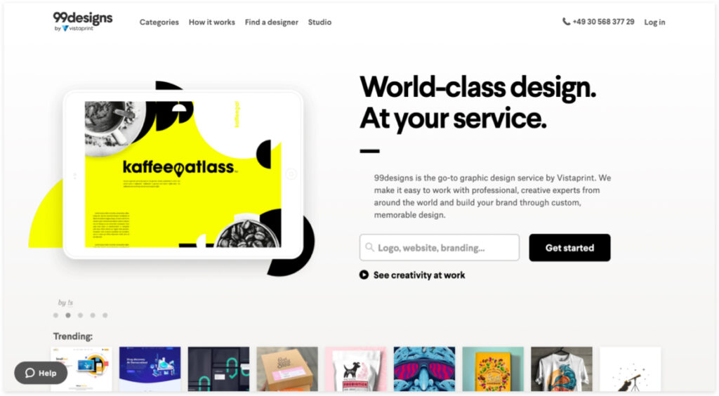 screenshot of the 99 designs website