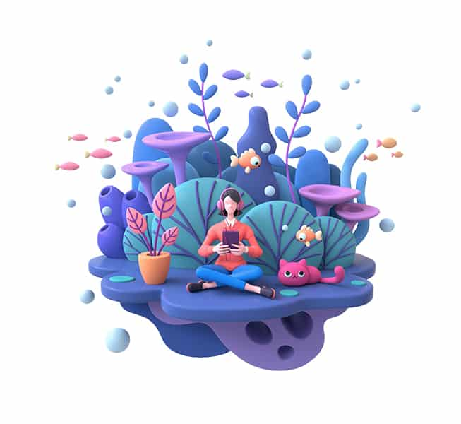 woman looking at a device while sitting on a floating purple cloud