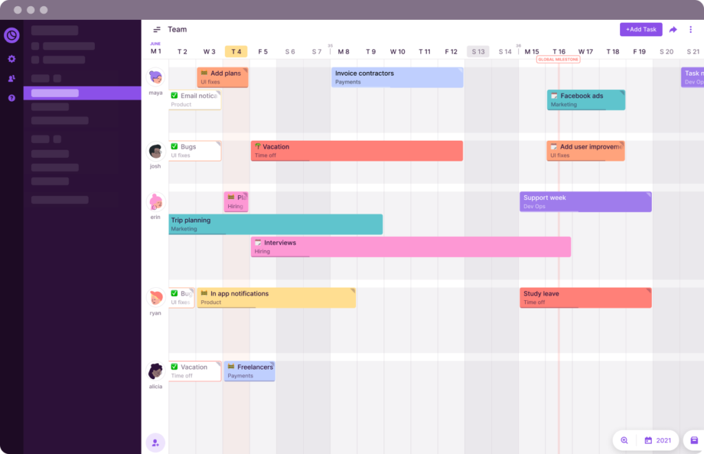Toggl Plan's Team timeline makes it visualize and balance your team's workloads.